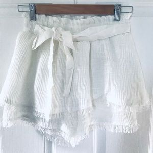 Moon River white ribbed front-tie skorts NWOT
